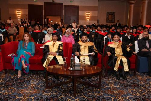 H.E. Mr. Tariq Somroo - CG Paksitan Consulate Dubai, Mrs Soomro, Dr. S.M. Tahir, Mr. Ashraf Hamouda from WFP of UN at the Graduation Ceremony 2012-min