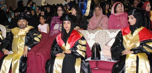 H.E. Sheikha Azza Abdulla, H.E. Dr. Maryam Mater  Dr. S.M. Tahir at th graduation ceremoney 2015.